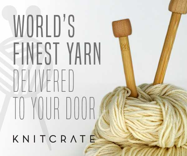 Knitcrate Banner with yarn and knitting needles